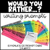 Would You Rather Questions - Writing Prompt Cards and Menus