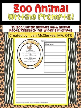 Writing Prompts - Zoo or Jungle Animal Facts and Research