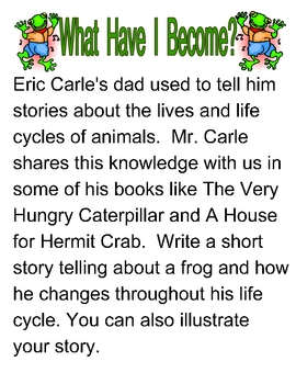 Writing Prompts and Activities for Eric Carle Stories