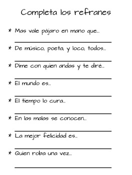 Writing Prompts and Activities with Popular Spanish Sayings (Proverbs)