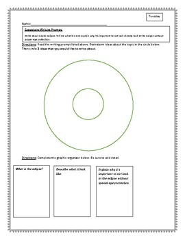 Writing Prompts and Graphic Organizers for 1 week
