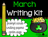 March Writing Prompt Cards and Papers - Writing Center Kit