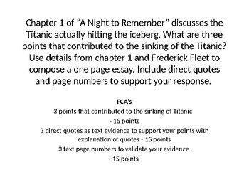 "Writing Prompts for ""A Night to Remember"""
