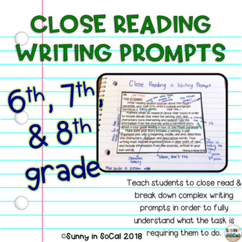 Writing Prompts for Close Reading Middle School