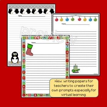 December Writing/Journal Prompts Grades 2-5 No Prep!