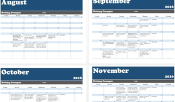 Writing Prompts for Every Day of the School Year! (EDITABLE CALENDAR!)