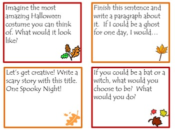 Writing Prompts for Fall in Task Card Format for Fun Common Core Practice!