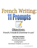 Writing Prompts for French students, 11 Topics