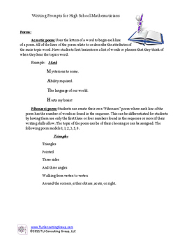 Writing Prompts for High School Mathematicians