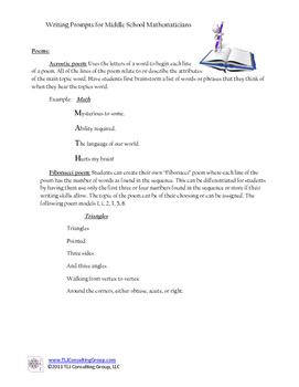 Writing Prompts for MS Mathematicians