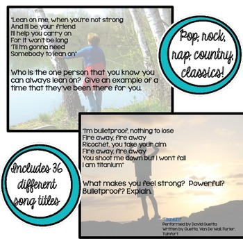 Writing Prompts for Middle and High School - Song Lyrics, Journals