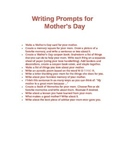 Writing Prompts for Mother's, Father's or Grandparent's Day