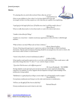 Writing Prompts for Primary Mathematicians