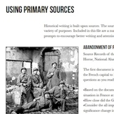 Writing Prompts for Primary Sources