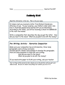 Writing Prompts for Quarterly Assessment Grade 7