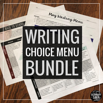 Writing Menus for Teens: A Year of 400 Seasonal/Monthly Prompts Across Genres!