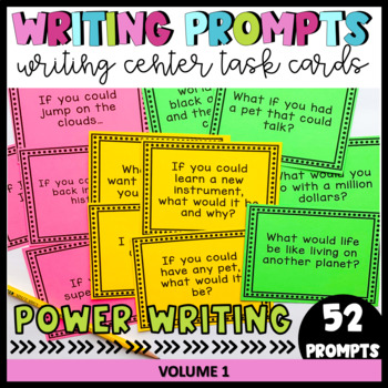 Writing Prompts for Writing Centers, 4th Grade and 5th Grade, (52 Task Cards)