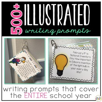 Writing Prompts for the Year { 500+ illustrated journal prompts } Writing BUNDLE
