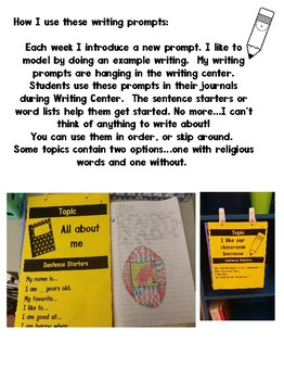 Writing Prompts for your Writing center or Journals #christmasinjuly18
