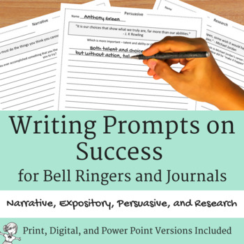 Writing Prompts on Success for Journals and Bell Ringers - Distance Learning