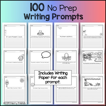 Writing Prompts or Journal Entries for the Year 100 No Prep Worksheets