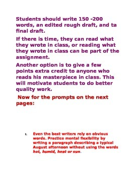 Writing Prompts to Improve Grammar, Usage and Sentence Structure