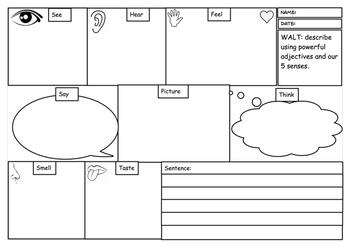 Writing Prompts using 5 senses and adjectives