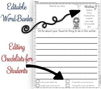 Writing Prompts with Editable Word Banks