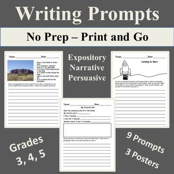 Writing Prompts - Expository, Narrative, Persuasive  Print and Go