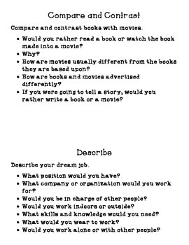 Writing Prompts with Organizers