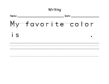 Writing Promts to use at the beginning of 1st grade