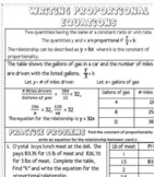 Writing Proportional Equations Interactive Notebook Notes
