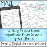Writing Proportional Relationships From Graphs in y=kx Form Maze