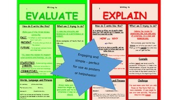 Writing Purposes Helpsheets/Posters - Perfect for Extended Writing and Literacy!