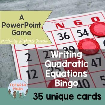 Writing Quadratic Equations Bingo