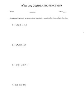 Writing Quadratic Equations Given 3 Points - Worksheet