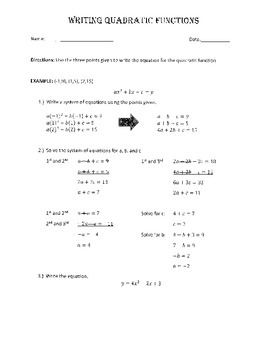 Writing Quadratic Equations Given 3 Points - Worksheet