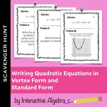 Writing Quadratics Activity Vertex Form Teaching Resources