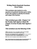 Writing Quadratic Equations from tables - Chapter 5 Prenti