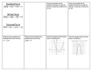 Writing Quadratic Functions Foldable / Graphic Organizer
