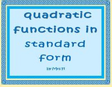 Quadratic Equations - Lesson 2 - Standard Form