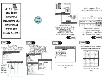 Writing Quadratic Functions and Making Predictions with the TI-84 Foldable