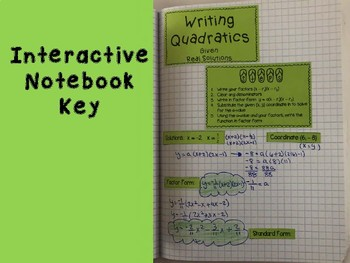 Writing Quadratics given Real Solutions Foldable, Interactive Notebook, Pracitce