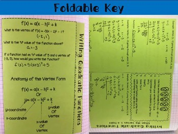 Writing Quadratics given the Vertex & 1 Point Foldable, INB, Practice, Exit