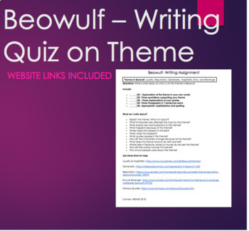 Writing Quiz -Beowulf Quiz on Themes