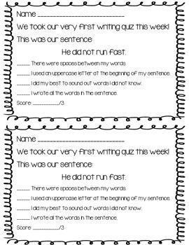 Writing Quiz Rubrics