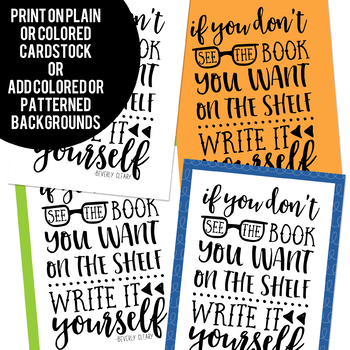 Writing Quote Posters in Black and White