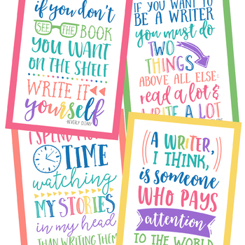 Writing Quotes Posters in Happy Brights
