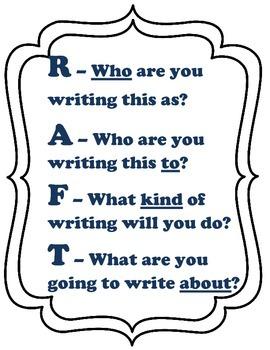 Writing R.A.F.T in English and Spanish - P.A.F.T.