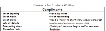 Writing Rating Cards and Comment Suggestions for Students